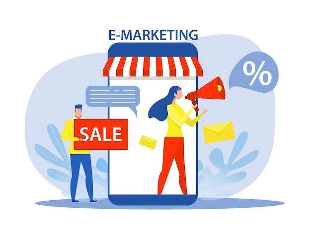 E-marketing concept vrouw gebruik megafoon of megafoon op scherm van laptop telefoon digitale promotie of online advertentie platte vectorillustratie.