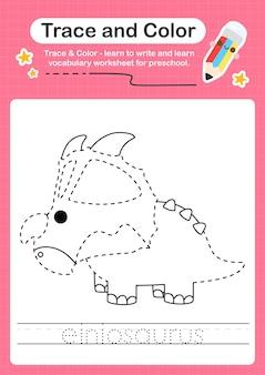 E overtrekwoord voor dinosaurussen en kleurwerkblad met het woord einiosaurus