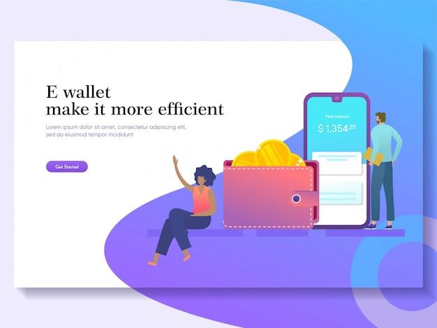 E portemonnee illustratie, mobiel bankieren concept, online betaling en overboeking, zakenman met behulp van cheque saldo