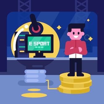 E sport bedrijfsideeconcept, professionele gamer verdienen geld aan videogame. vector teken illustratie, cybersport