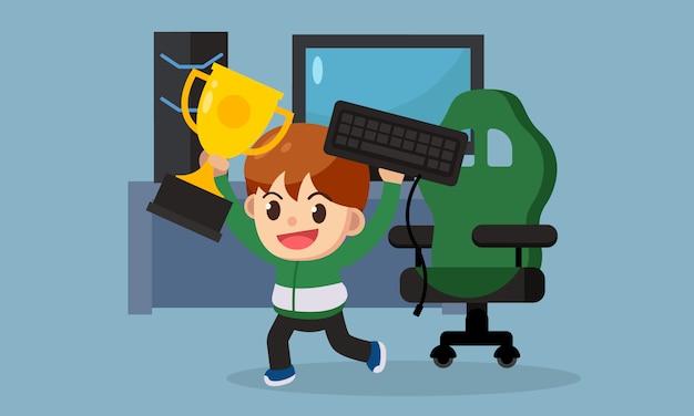 E-sport gamer karakter met kampioen cup, game business. vector illustratie