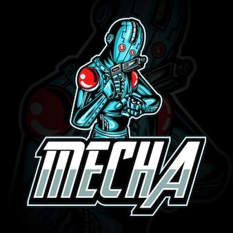 E-sport gaming-logo of mascotteillustratie die blauwe metalen robot met pistool aan kant vertegenwoordigt