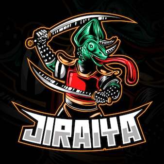 E-sport gaming-logo of mascotteillustratie die samurai of ninja chameleon holding swords vertegenwoordigt