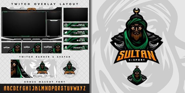 E-sport-logo en twitch-sjabloon van ridderstrijder uit het midden-oosten perfect voor e-sport-teammascotte en game-streamer