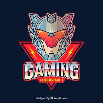 E-sport team logo sjabloon met futuristische ridder