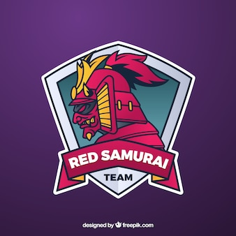 E-sport team logo sjabloon met samurai