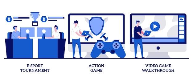 E-sport-toernooi, actiespel, videogame-walkthrough-concept met kleine mensen. cyber sport professionele competitie abstracte vector illustratie set. internet en computerspelletjes streaming metafoor.