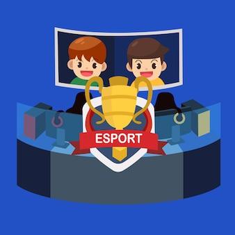 E sportevenement, pro-gamer speler toernooi met kampioensbeker. vector illustratie