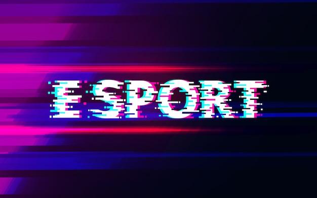 E sportglitch op abstract ontwerp als achtergrond.