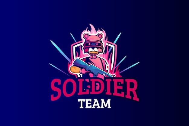 E-sports team logo sjabloon met konijn