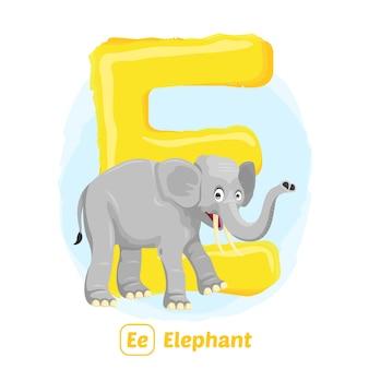 E voor olifant. premium illustratie tekenstijl van alfabet dier voor onderwijs