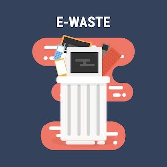 E-waste prullenbak plat ontwerp.