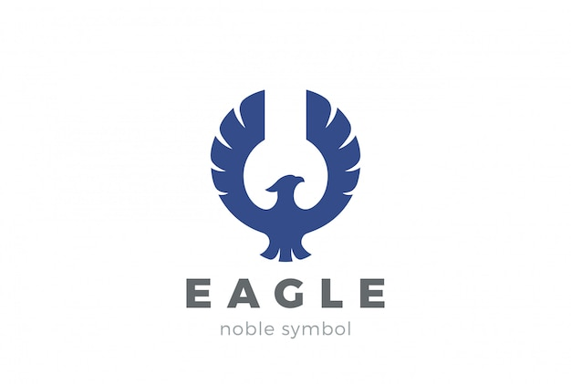 Eagle bird logo abstract ontwerp bedrijfssjabloon. flying soaring falcon, hawk, phoenix logotype concept icoon.