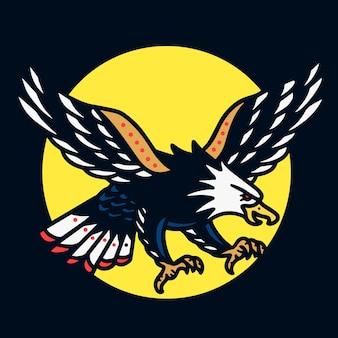 Eagle en sun old school tattoo illustratie