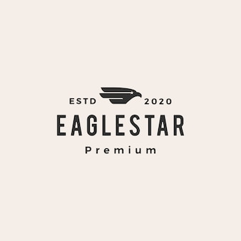 Eagle falcon bird star hipster vintage logo icon illustration