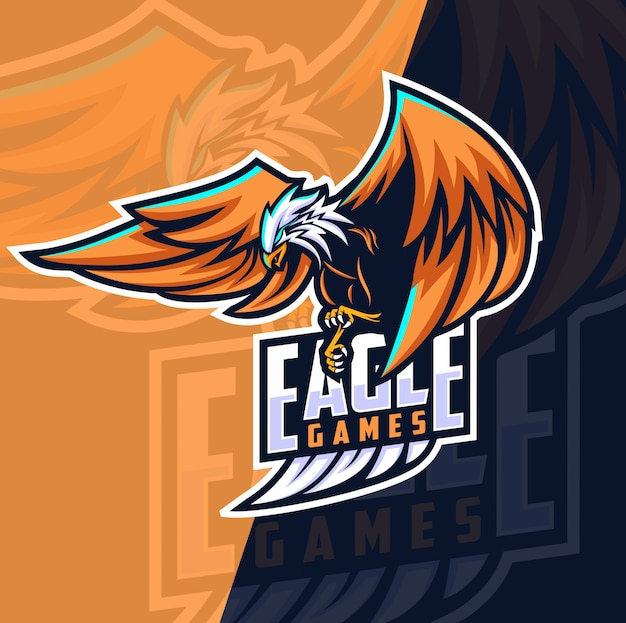 Eagle games mascotte esport logo-ontwerp