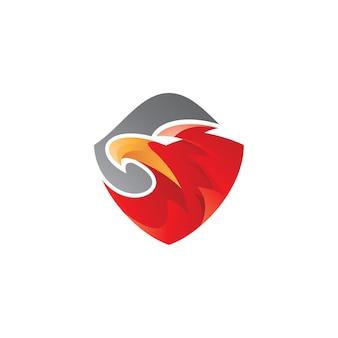Eagle head en shield-logo