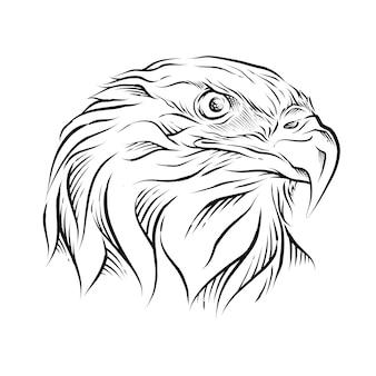 Eagle head hand getekende illustratie