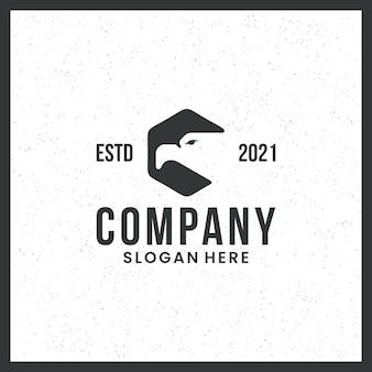 Eagle head-logo, voor luchtvaart, veiligheid, met zeshoekig concept