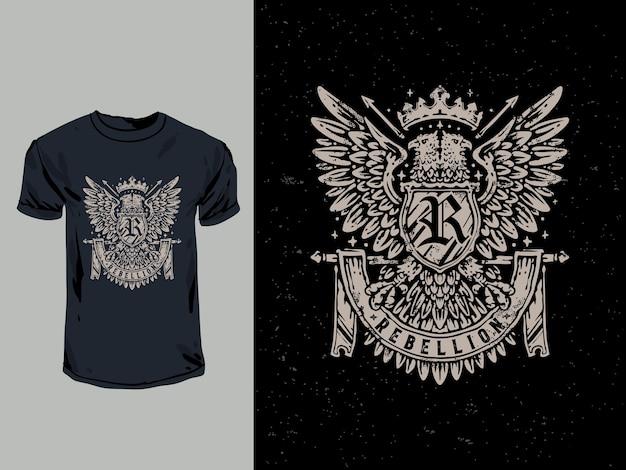 Eagle heraldiek shirt design met een hand getrokken illustratie