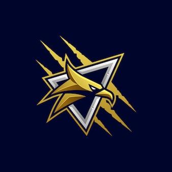 Eagle hoofd agressieve vector sjabloon