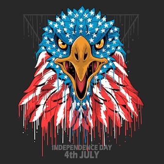 Eagle hoofd amerika verenigde staten vlag onafhankelijkheidsdag, veteransdag en memorial day element