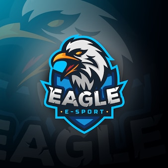 Eagle hoofd gaming logo esport