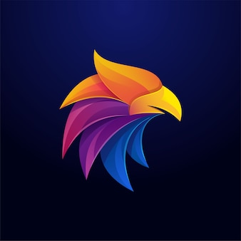 Eagle hoofd kleurrijke sjabloon