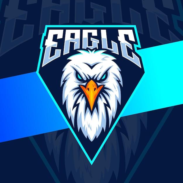 Eagle hoofd mascotte logo ontwerp voor sport en esport gaming