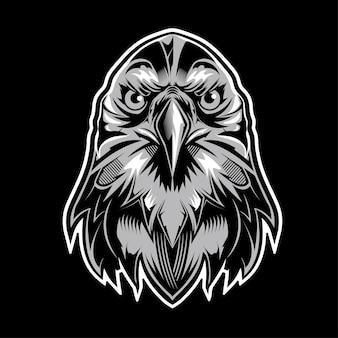 Eagle hoofdembleem op zwarte achtergrond