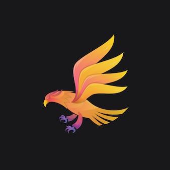 Eagle kleurovergang kleurrijke moderne vogel logo illustratie