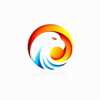 Eagle-logo met zonne-element