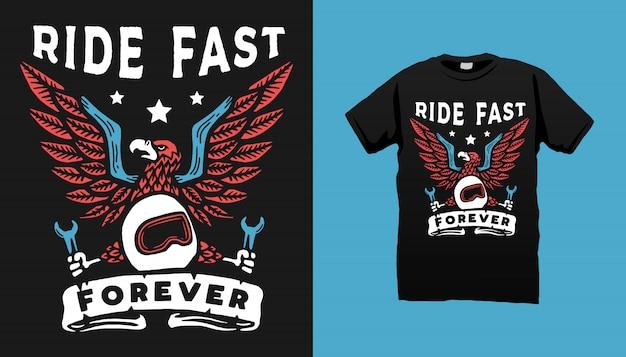 Eagle motorcycle art tshirt design