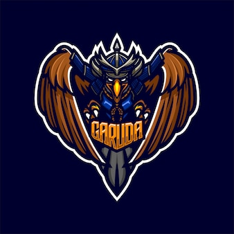 Eagle samurai ridder premium mascotte logo sjabloon