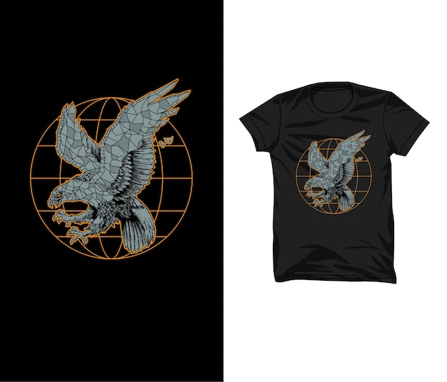 Eagle steen illustratie tshirt ontwerp