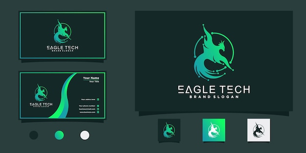 Eagle tech-logo-ontwerp met koele verloopkleuren, circe-stijlconcept en visitekaartje premium vekto