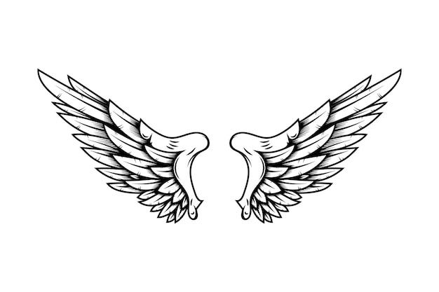 Eagle vleugels in tattoo stijl geïsoleerd op een witte achtergrond. ontwerpelement voor poster, t-shirt, kaart, embleem, teken, badge. vector illustratie