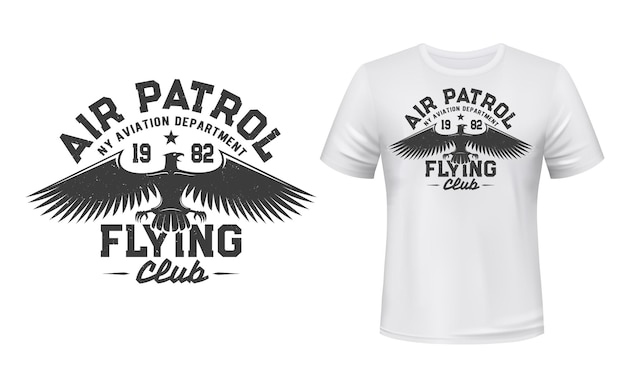 Eagle vliegende club t-shirt print illustratie