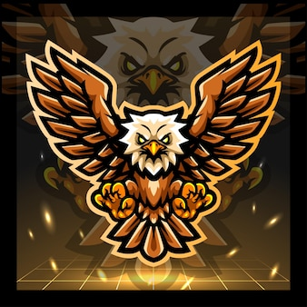 Eagle vogel mascotte esport logo ontwerp