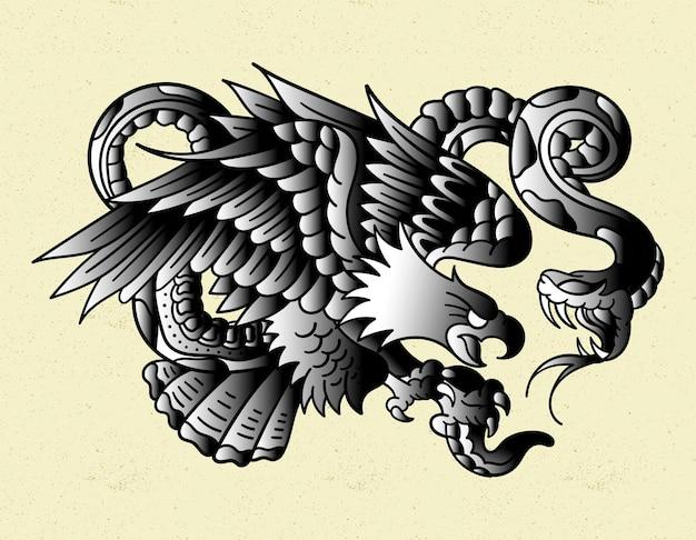 Eagle zwart-witte tattoo old school