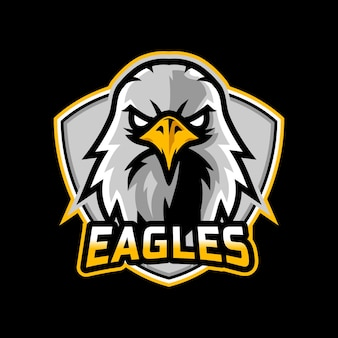 Eagles mascotte esport logo ontwerp