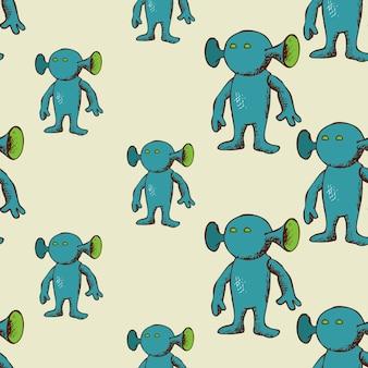 Eared buitenaards naadloos patroon. eindeloze leuke karakterachtergrond,