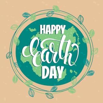 Earth day concept met hand tekening lettering.