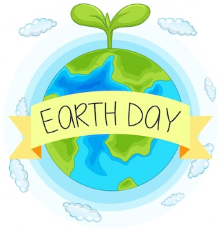 Earth day-conceptenhand getrokken illustratie