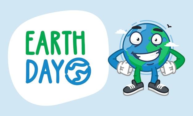 Earth day earth karakter hand in hand op taille en glimlachen. vectorillustratie. mascotte karakter.