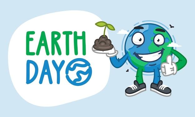 Earth day earth-personage met een handvol aarde. vectorillustratie. mascotte karakter.