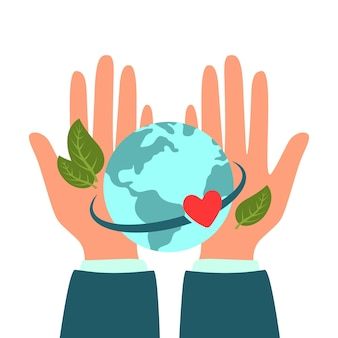 Earth day-handen die de groene aardebol vasthouden met bladeren vlakke afbeelding milieubescherming en zorg een symbool van de vrede van de milieunatuur