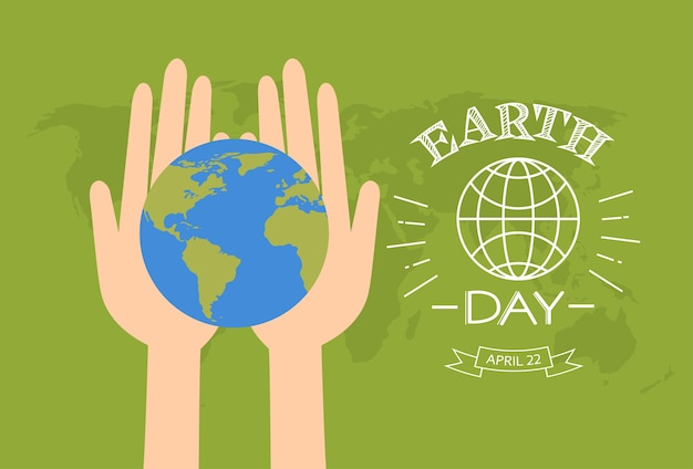 Earth day hands hold globe over world map