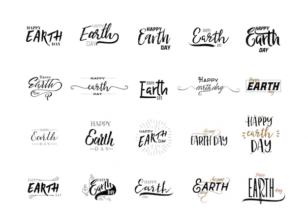 Earth day stickers set