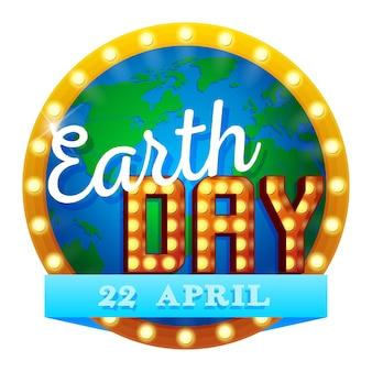 Earth day vector illustratie met earth globe retro sign